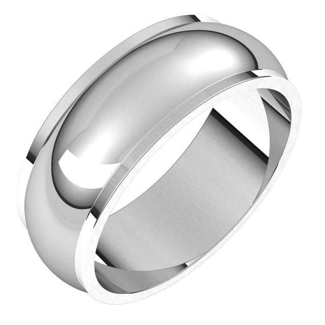 Sterling Silver 7 mm Half Round Edge Wedding Band