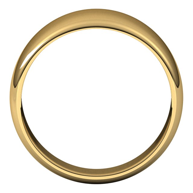 14K Yellow Gold 10 mm Half Round Tapered Wedding Band