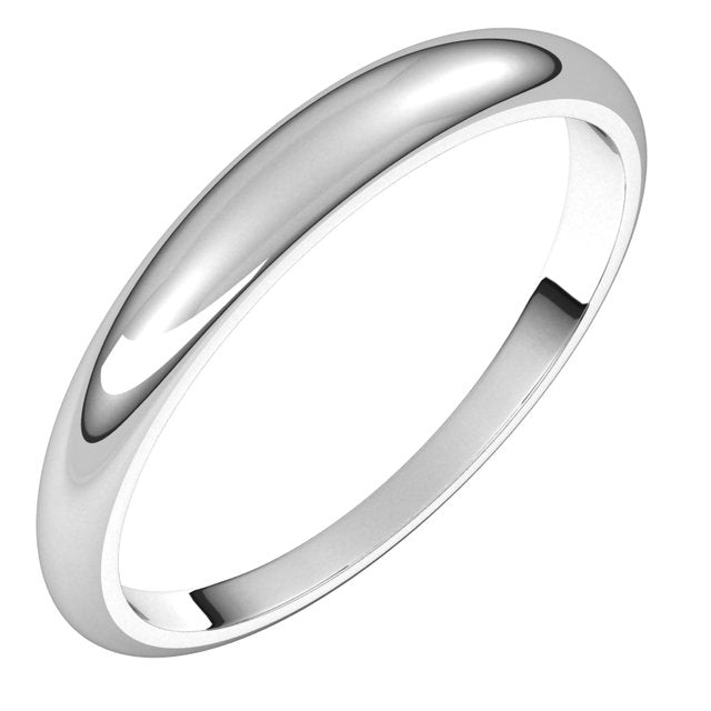 14K White Gold 3 mm Half Round Tapered Wedding Band