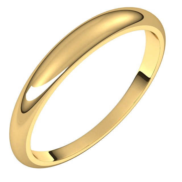 14K Yellow Gold 3 mm Half Round Tapered Wedding Band