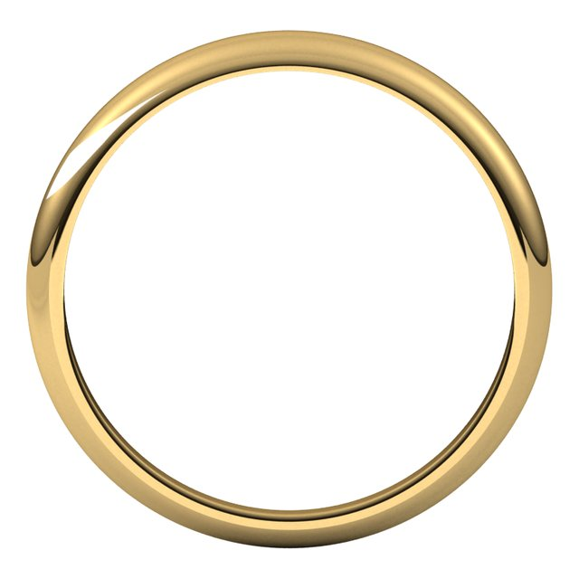 10K Yellow Gold 3 mm Half Round Tapered Wedding Band