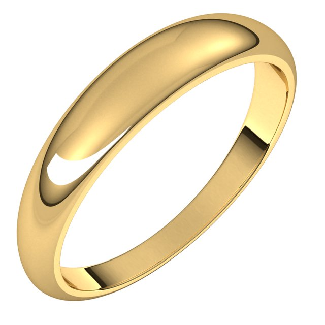 18K Yellow Gold 4 mm Half Round Tapered Wedding Band