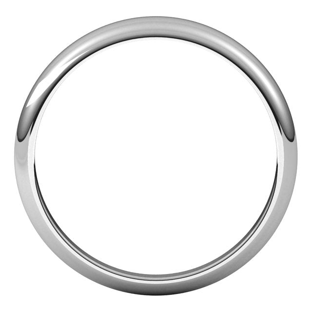 18K White Gold 4 mm Half Round Tapered Wedding Band