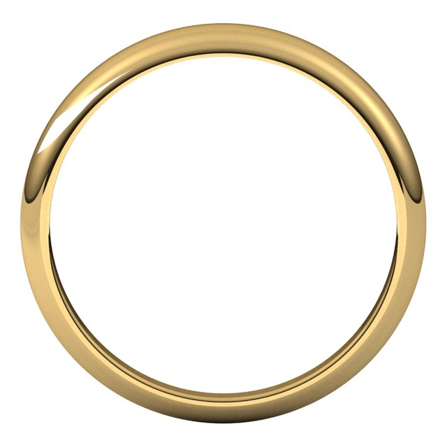 14K Yellow Gold 4 mm Half Round Tapered Wedding Band