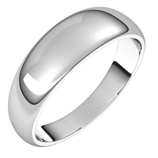 14K White Gold 6 mm Half Round Tapered Wedding Band