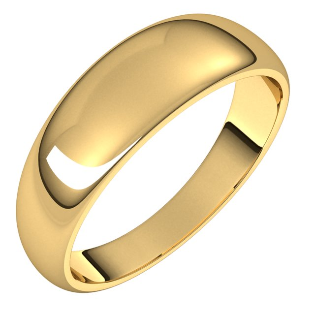 14K Yellow Gold 6 mm Half Round Tapered Wedding Band