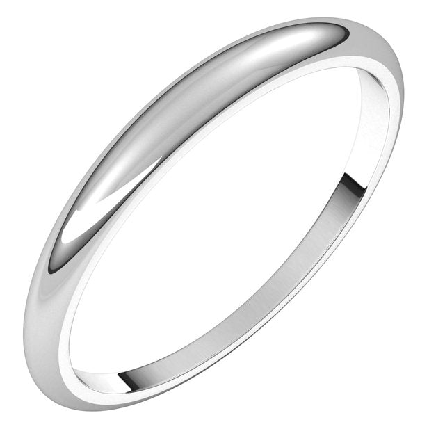 14K White Gold 2.5 mm Half Round Tapered Wedding Band