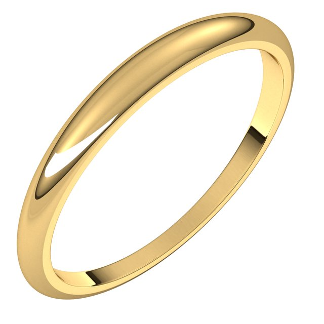 18K Yellow Gold 2.5 mm Half Round Tapered Wedding Band