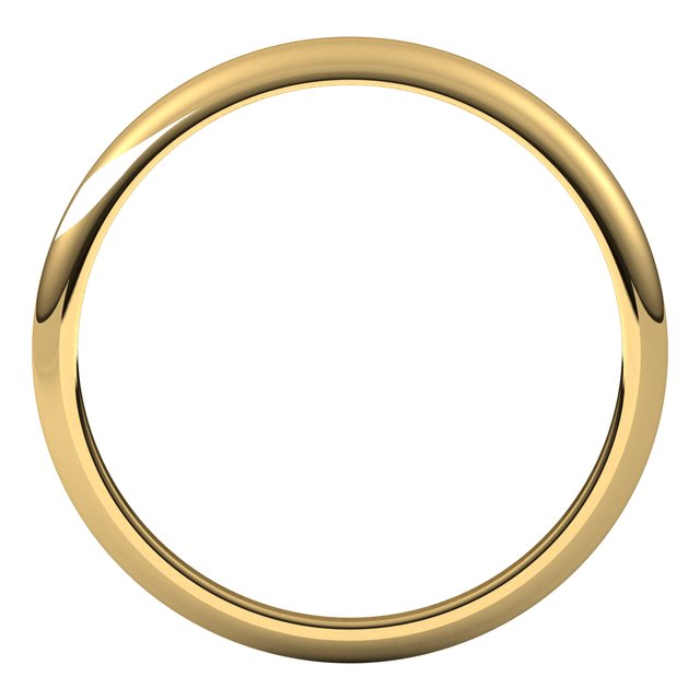 14K Yellow Gold 2.5 mm Half Round Tapered Wedding Band