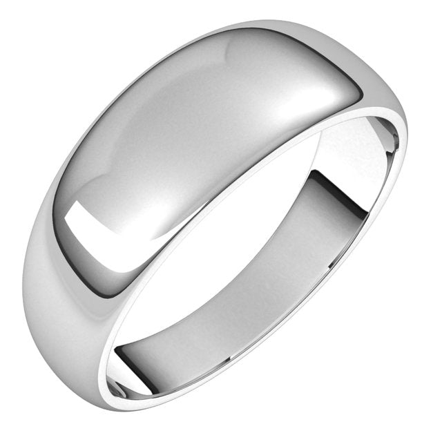 10K White Gold 7 mm Half Round Tapered Wedding Band