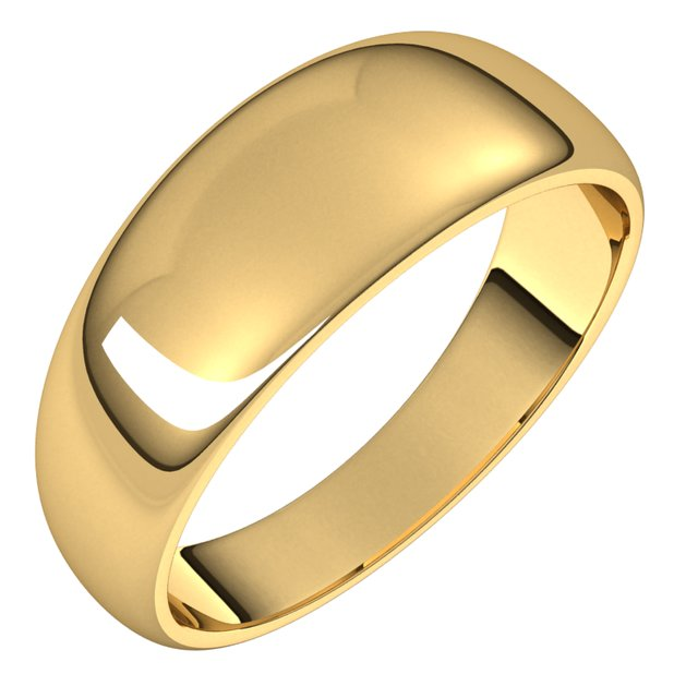 18K Yellow Gold 7 mm Half Round Tapered Wedding Band