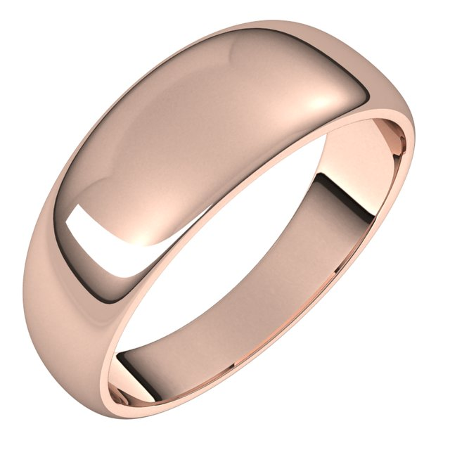 14K Rose Gold 7 mm Half Round Tapered Wedding Band