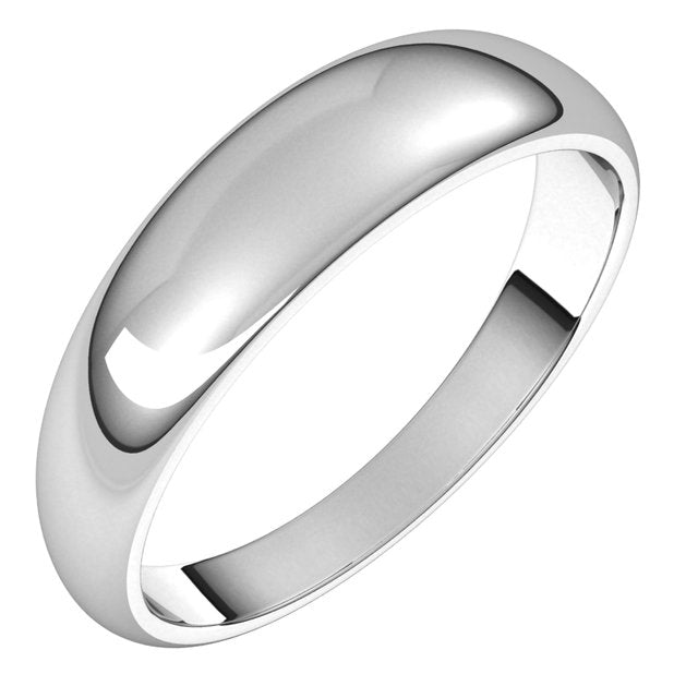 14K White Gold 5 mm Half Round Tapered Wedding Band