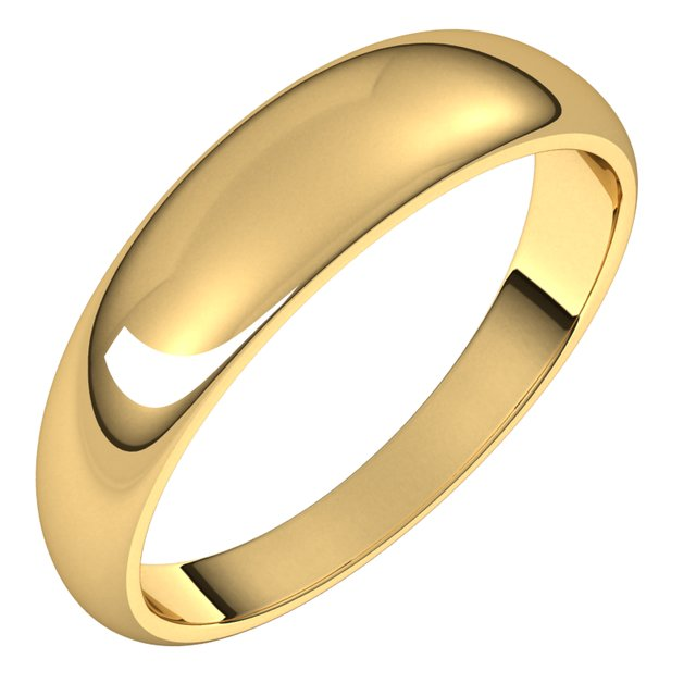 14K Yellow Gold 5 mm Half Round Tapered Wedding Band