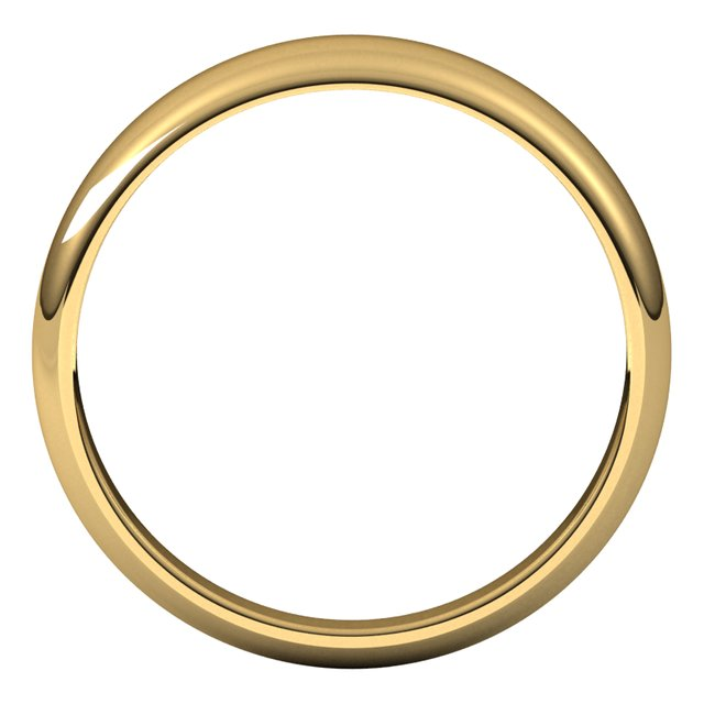 18K Yellow Gold 5 mm Half Round Tapered Wedding Band