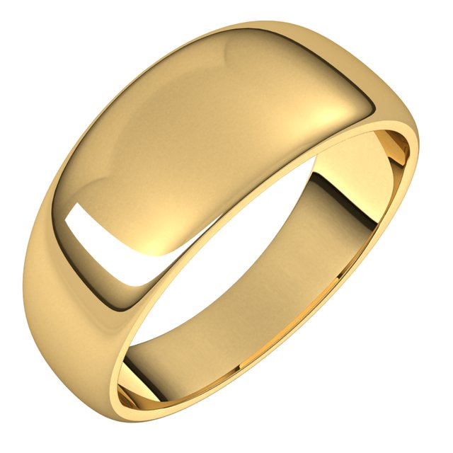 14K Yellow Gold 8 mm Half Round Tapered Wedding Band