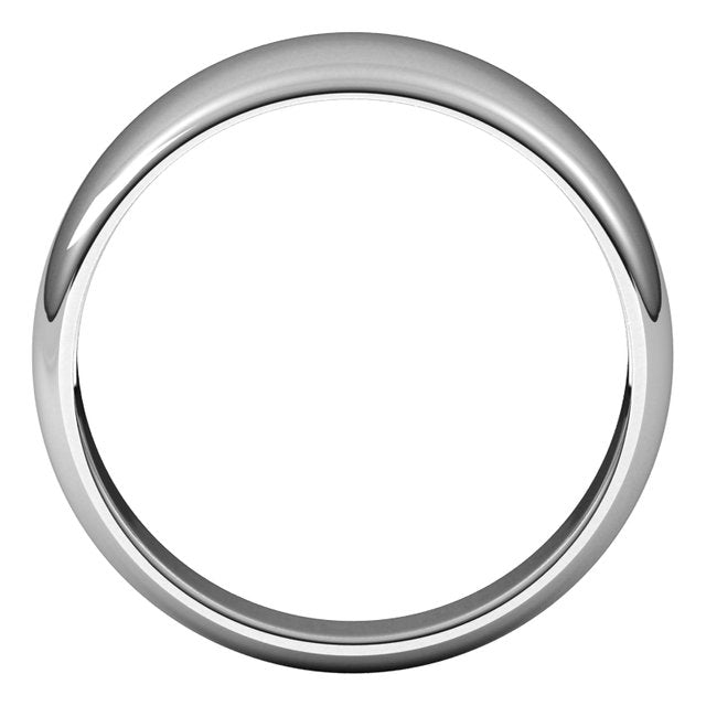 14K White Gold 8 mm Half Round Tapered Wedding Band