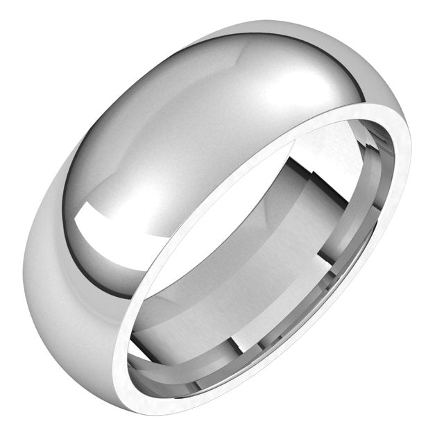 Sterling Silver 7 mm Half Round Comfort Fit Wedding Band