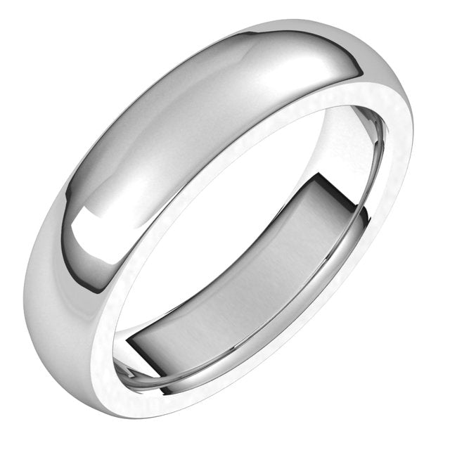14K White Gold 5 mm Half Round Comfort Fit Heavy Wedding Band