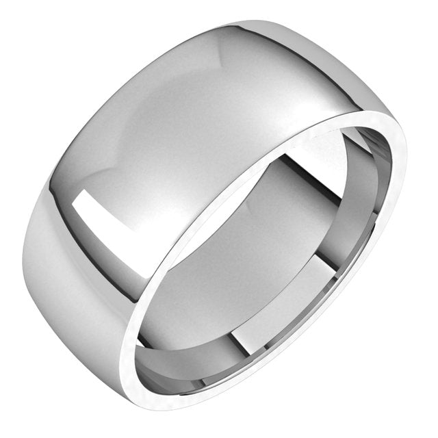 Sterling Silver 8 mm Half Round Comfort Fit Light Wedding Band