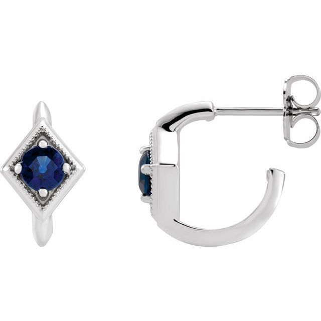 14K White Blue Sapphire Geometric Hoop Earrings