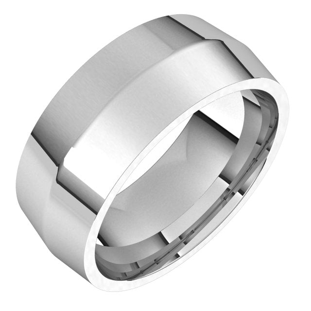 Platinum 8 mm Knife Edge Comfort Fit Wedding Band