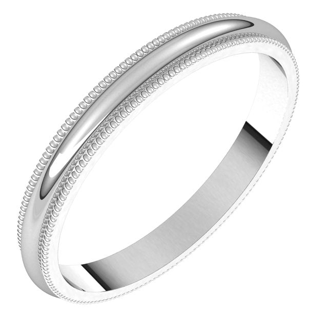 Sterling Silver 2.5 mm Milgrain Half Round Wedding Band