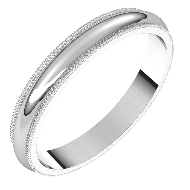 Sterling Silver 3 mm Milgrain Half Round Wedding Band