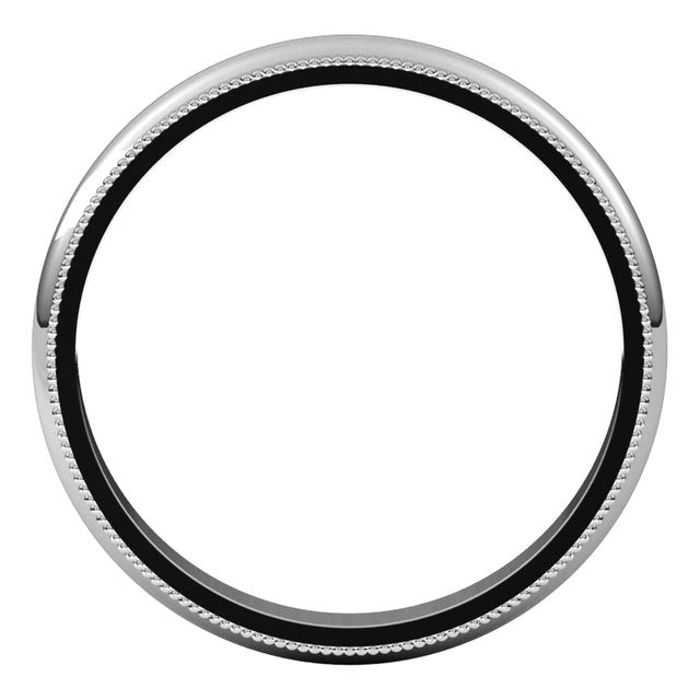 Platinum 3 mm Milgrain Half Round Wedding Band