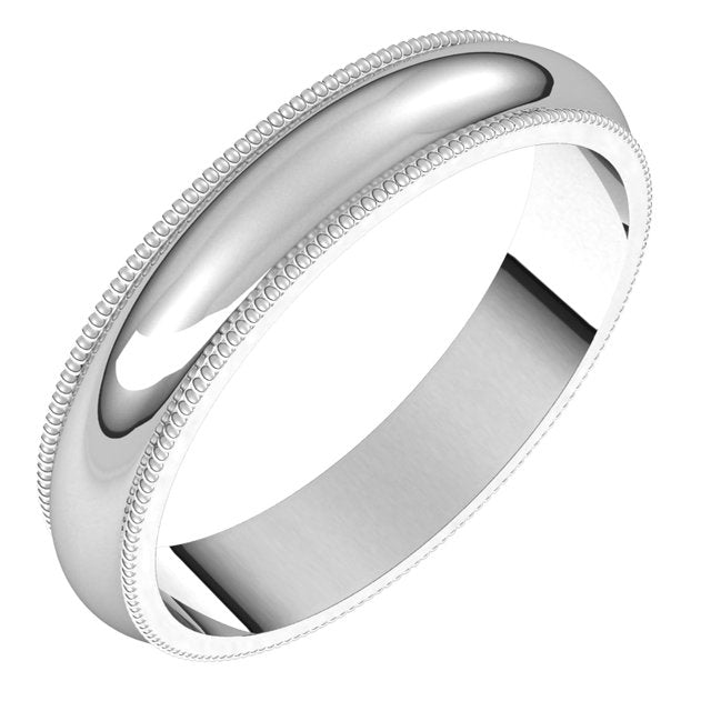 Sterling Silver 4 mm Milgrain Half Round Wedding Band