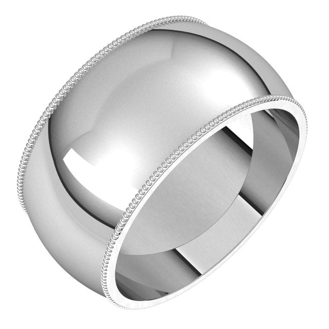18K White Gold 10 mm Milgrain Half Round Wedding Band