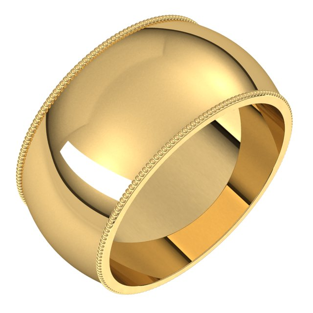 14K Yellow Gold 10 mm Milgrain Half Round Wedding Band