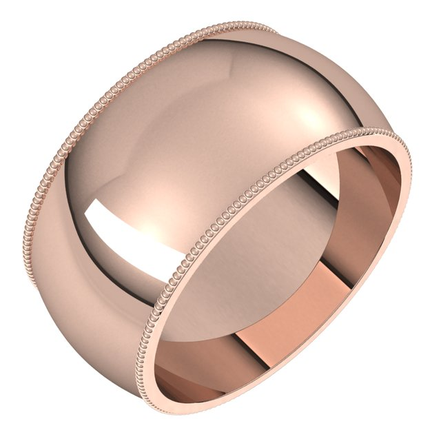 14K Rose Gold 10 mm Milgrain Half Round Wedding Band