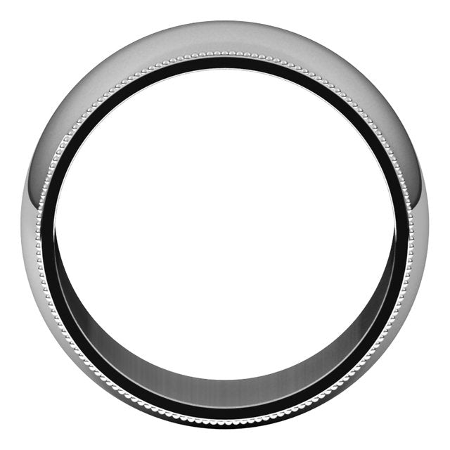 Platinum 10 mm Milgrain Half Round Wedding Band