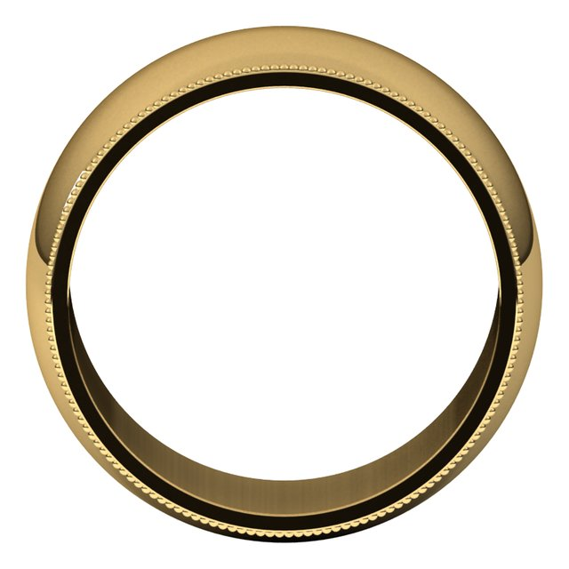 18K Yellow Gold 10 mm Milgrain Half Round Wedding Band