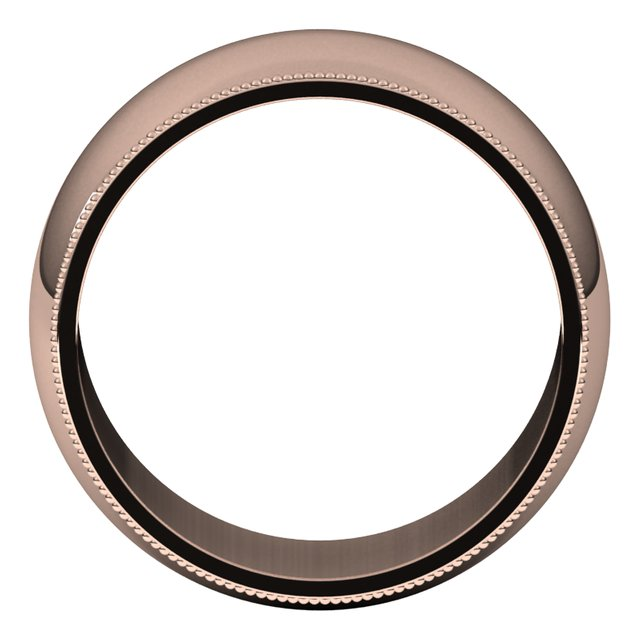 18K Rose Gold 10 mm Milgrain Half Round Wedding Band
