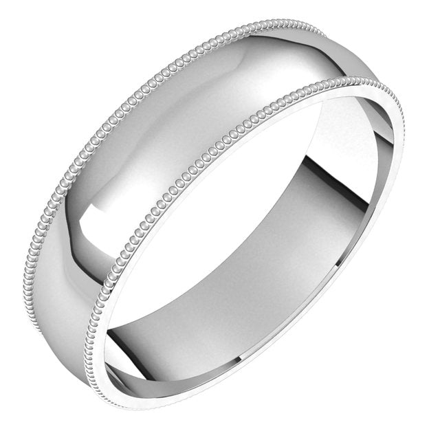 Platinum 5 mm Milgrain Half Round Comfort Fit Light Wedding Band