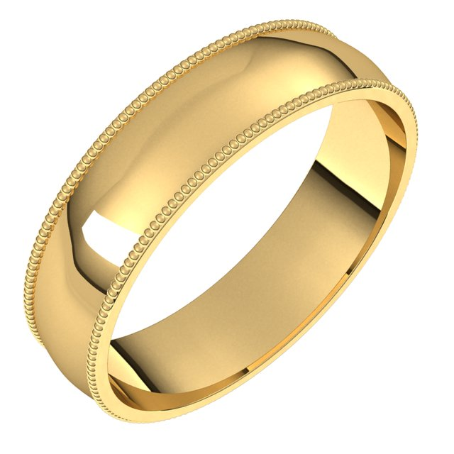 18K Yellow Gold 5 mm Milgrain Half Round Comfort Fit Light Wedding Band