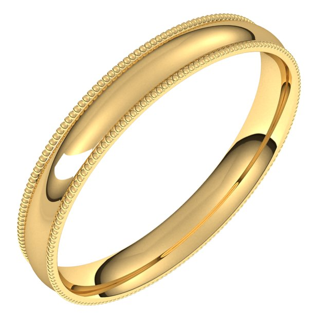 18K Yellow Gold 3 mm Milgrain Half Round Comfort Fit Light Wedding Band