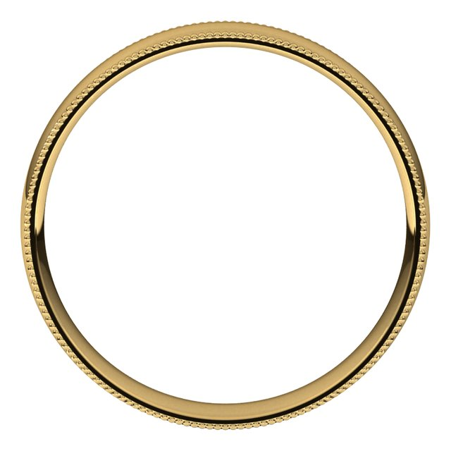 18K Yellow Gold 4 mm Milgrain Half Round Comfort Fit Light Wedding Band
