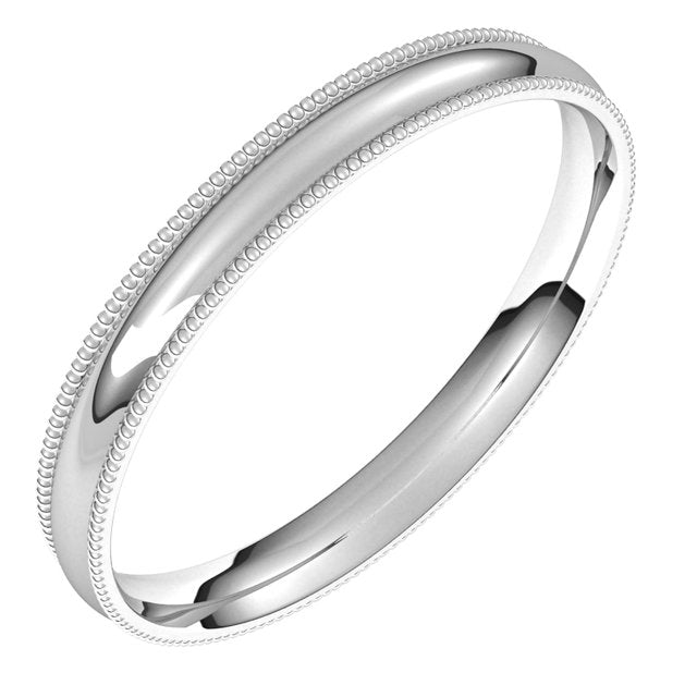 Sterling Silver 2.5 mm Milgrain Half Round Comfort Fit Light Wedding Band
