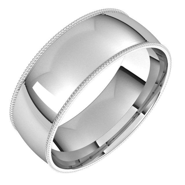 Platinum 7 mm Milgrain Half Round Comfort Fit Light Wedding Band