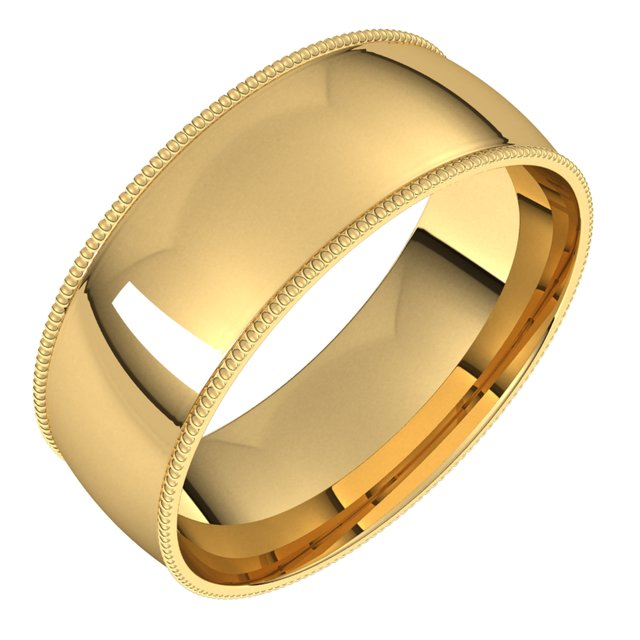 18K Yellow Gold 7 mm Milgrain Half Round Comfort Fit Light Wedding Band
