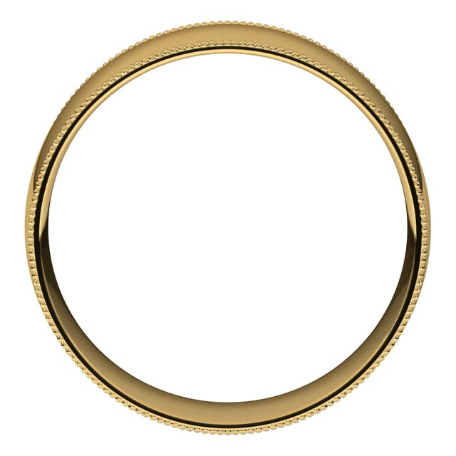 14K Yellow Gold 7 mm Milgrain Half Round Comfort Fit Light Wedding Band