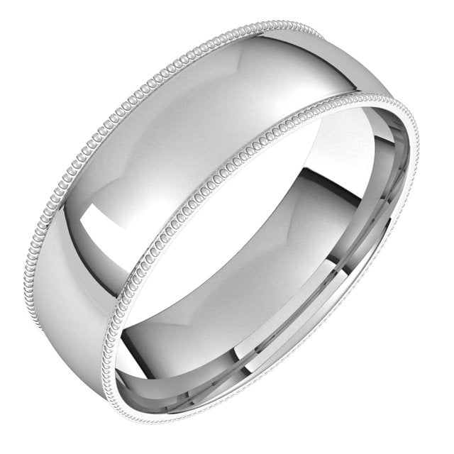 Platinum 6 mm Milgrain Half Round Comfort Fit Light Wedding Band