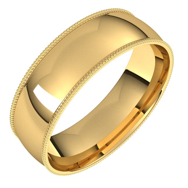 18K Yellow Gold 6 mm Milgrain Half Round Comfort Fit Light Wedding Band