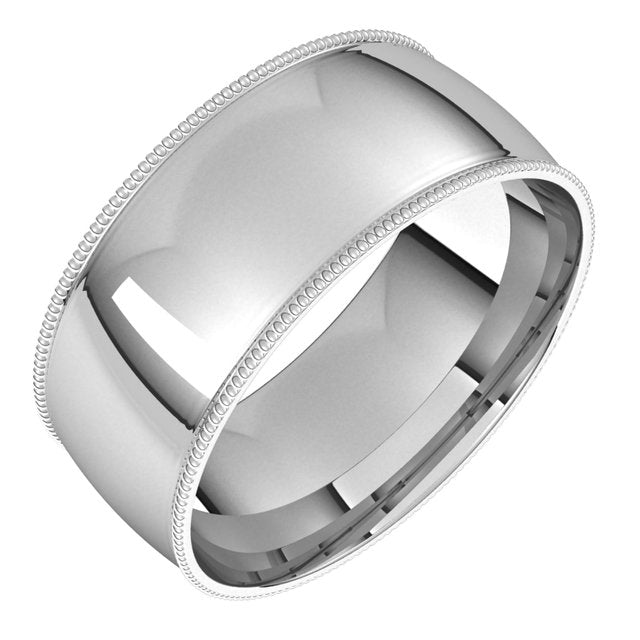 Sterling Silver 8 mm Milgrain Half Round Comfort Fit Light Wedding Band