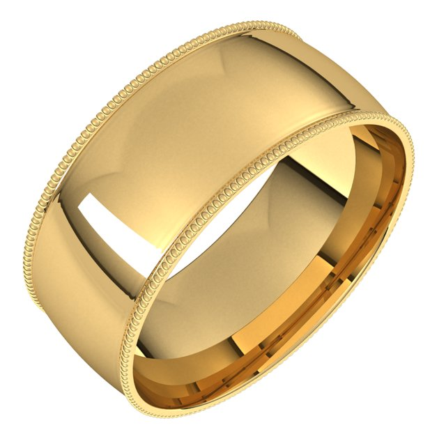 18K Yellow Gold 8 mm Milgrain Half Round Comfort Fit Light Wedding Band