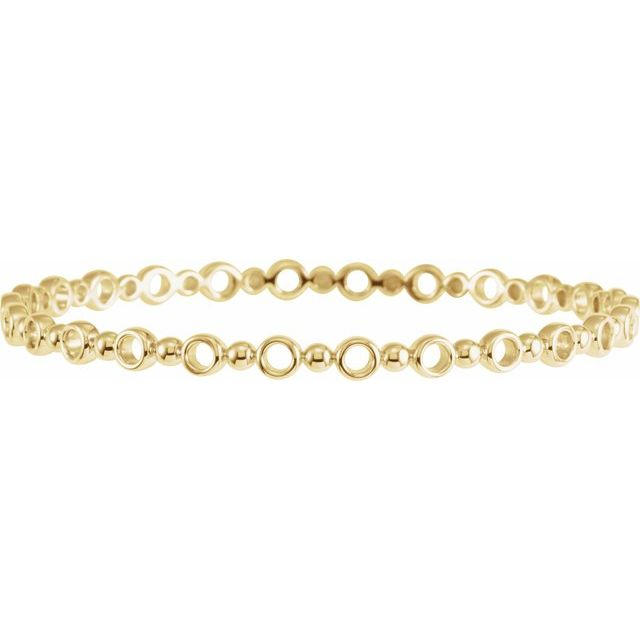 "14K Yellow 4.4 mm Geometric Bangle 7"" Bracelet"