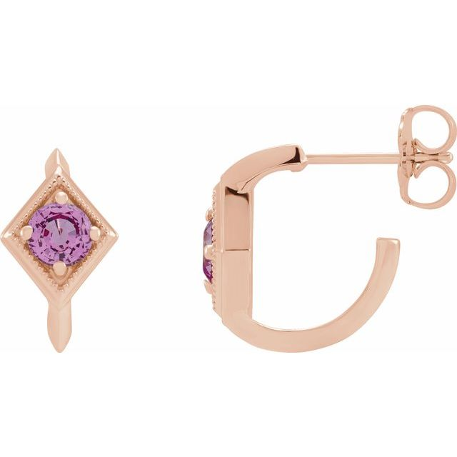 14K Rose Pink Sapphire Geometric Hoop Earrings